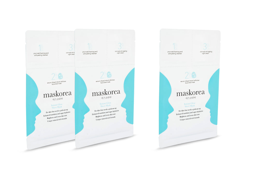INSTANT GLOW Premium 3-Step Face Sheet Mask (Pack of 3)