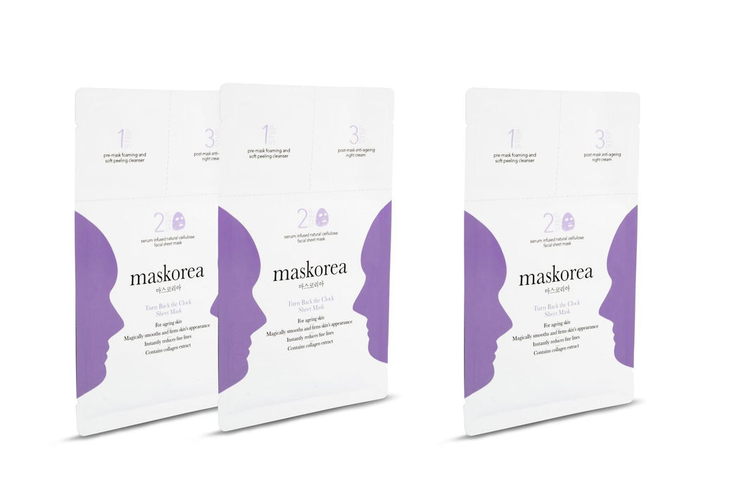 TURN BACK THE CLOCK Premium 3-Step Face Sheet Mask (Pack Of 3)