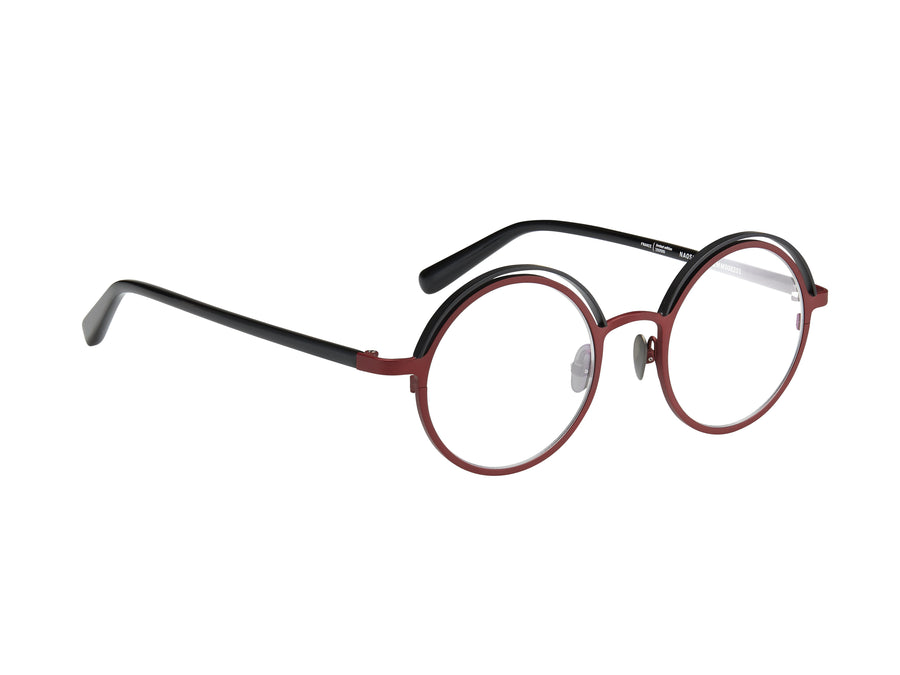 EMM008201 Black and red with black temples