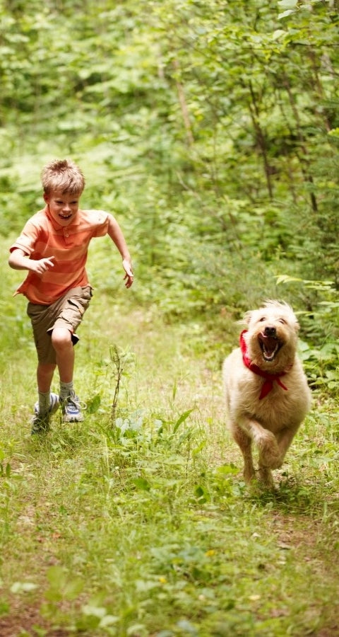 Child running with dog