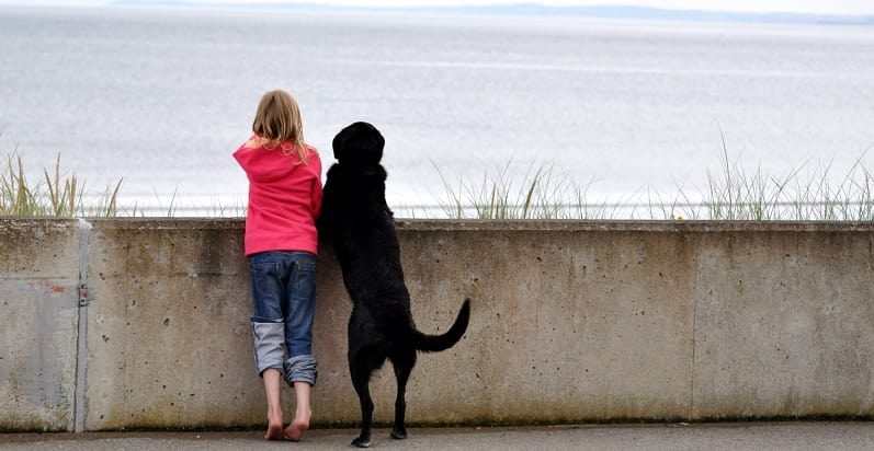 Girl with black lab at the sea