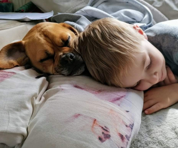 child napping with dog