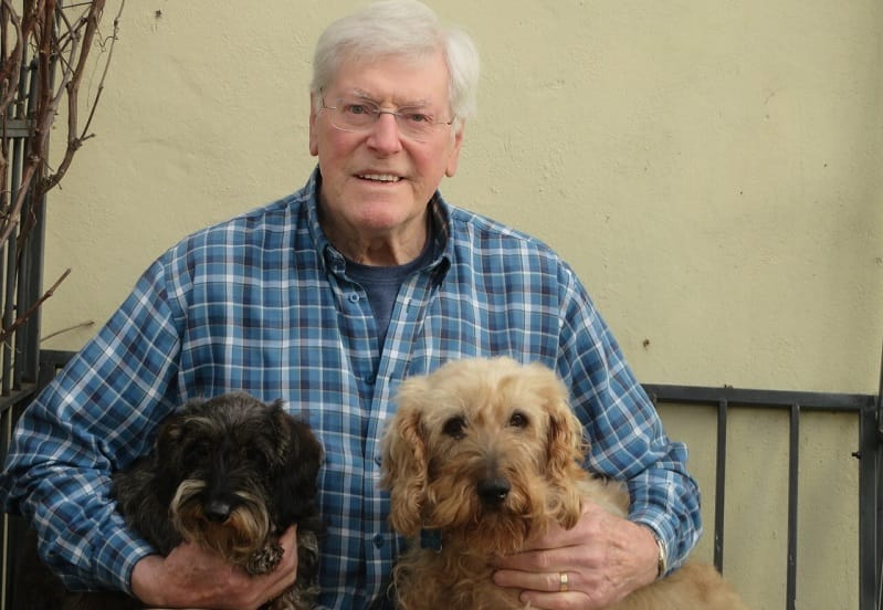 Peter Purves with wirehaired dachshunds