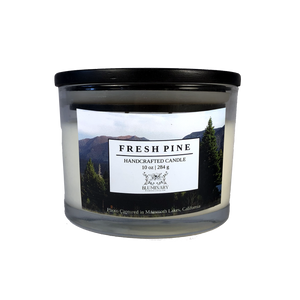 fresh pine 10 oz glass Mammoth California  candle