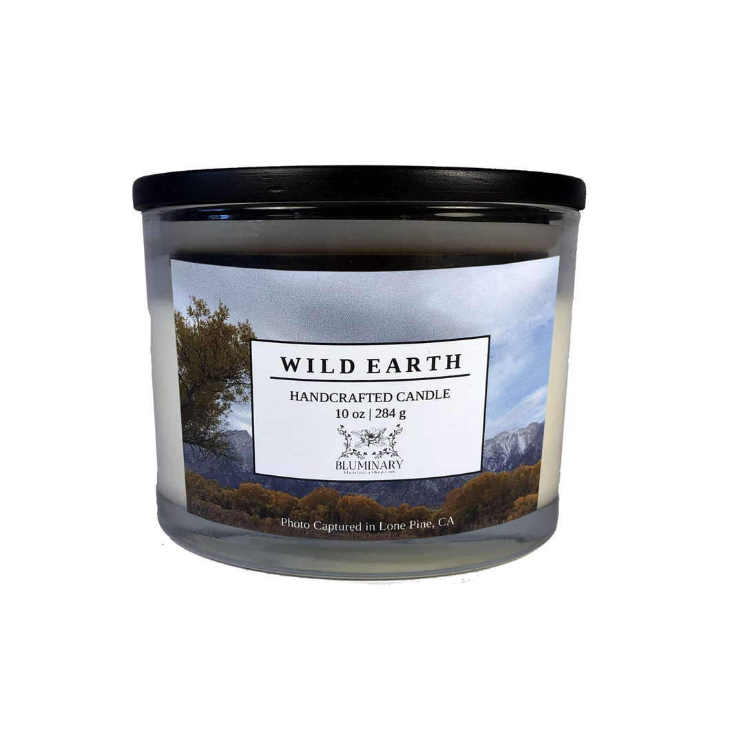 Wild Earth candle product shot 10 oz glass Lone Pine Alabama Hills CA