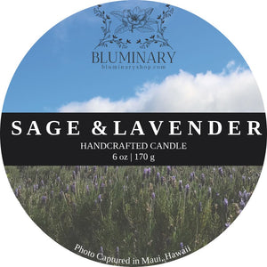 Sage & Lavender Candle label close up