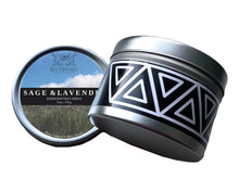 Load image into Gallery viewer, Sage & Lavender Candle product shot 8 oz tin