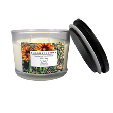 Load image into Gallery viewer, Bloom Together Candle - Funds donated to ACLU 10 oz lid off