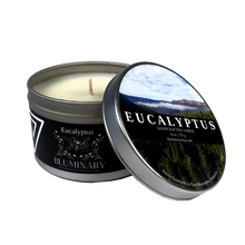 Load image into Gallery viewer, Eucalyptus Candle label 6 oz tin Blue Mountains Australia