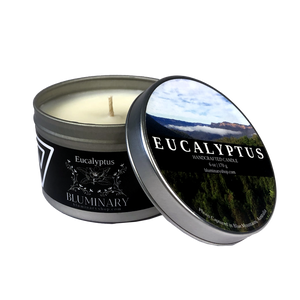 Eucalyptus Candle label 6 oz tin Blue Mountains Australia