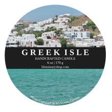 Load image into Gallery viewer, Greek Isle Mykonos Candle 6 oz tin  label