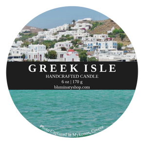 Greek Isle Mykonos Candle 6 oz tin  label