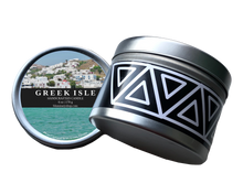 Load image into Gallery viewer, Greek Isle Mykonos Candle 6 oz tin product shot