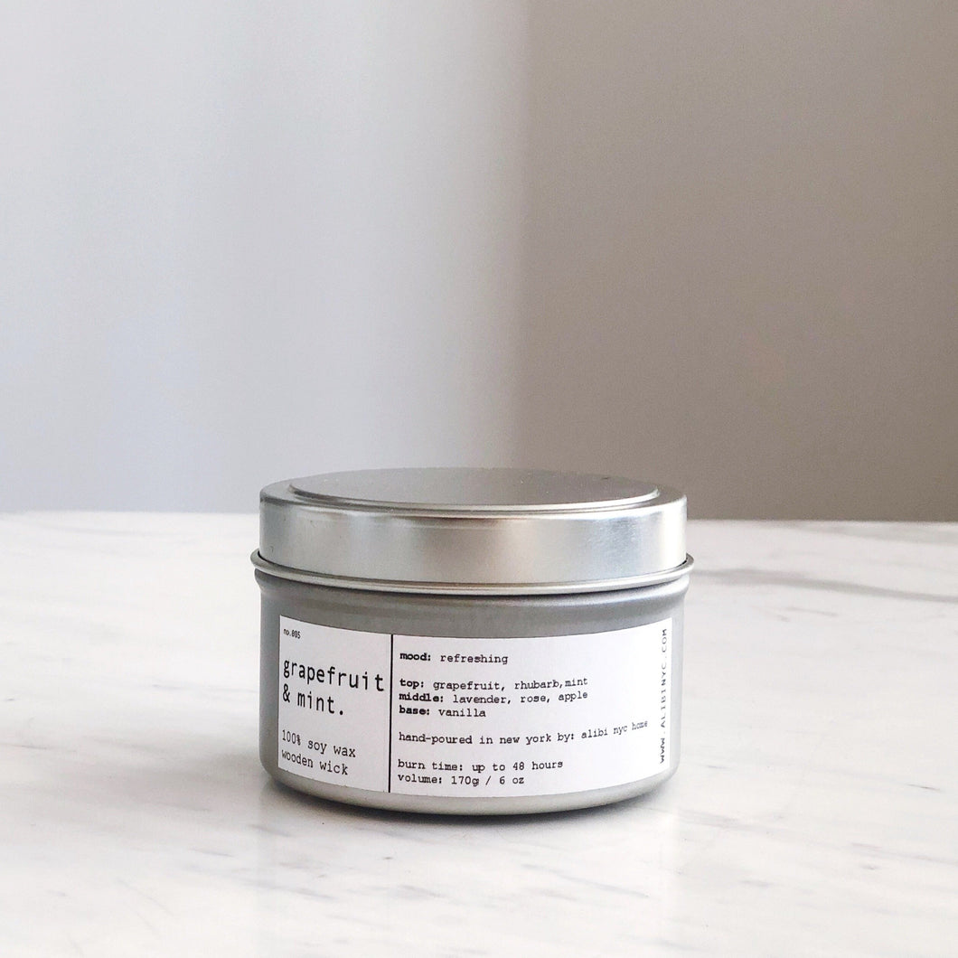 GRAPEFRUIT & MINT | 100% SOY TRAVEL SIZE CANDLE