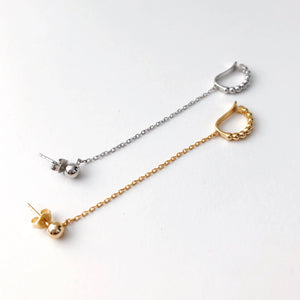 ROUNDED STUD, CHAIN + EARCUFF