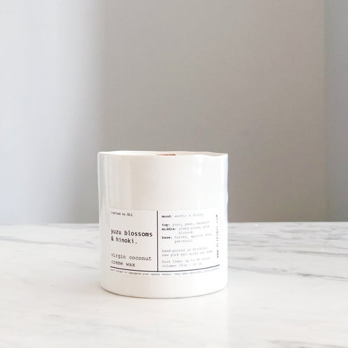 YUZU BLOSSOM & HINOKI | VIRGIN COCONUT CRÈME WAX & WOODEN WICK CANDLE