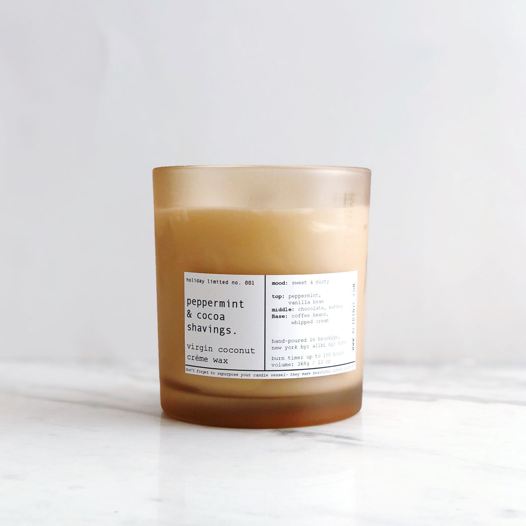 PEPPERMINT & COCOA SHAVINGS | VIRGIN COCONUT CRÈME WAX & WOODEN WICK CANDLE