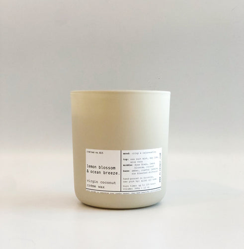 LEMON BLOSSOM & OCEAN BREEZE | VIRGIN COCONUT CRÈME WAX & WOODEN WICK CANDLE