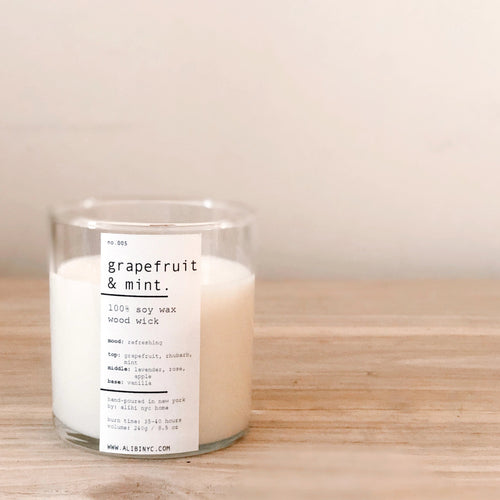 GRAPEFRUIT & MINT | 100% SOY WOODEN WICK CANDLE