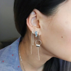 Semi Circle Threader and Long Bar Ear Jacket paired with the U-Disc Dangle Earrings