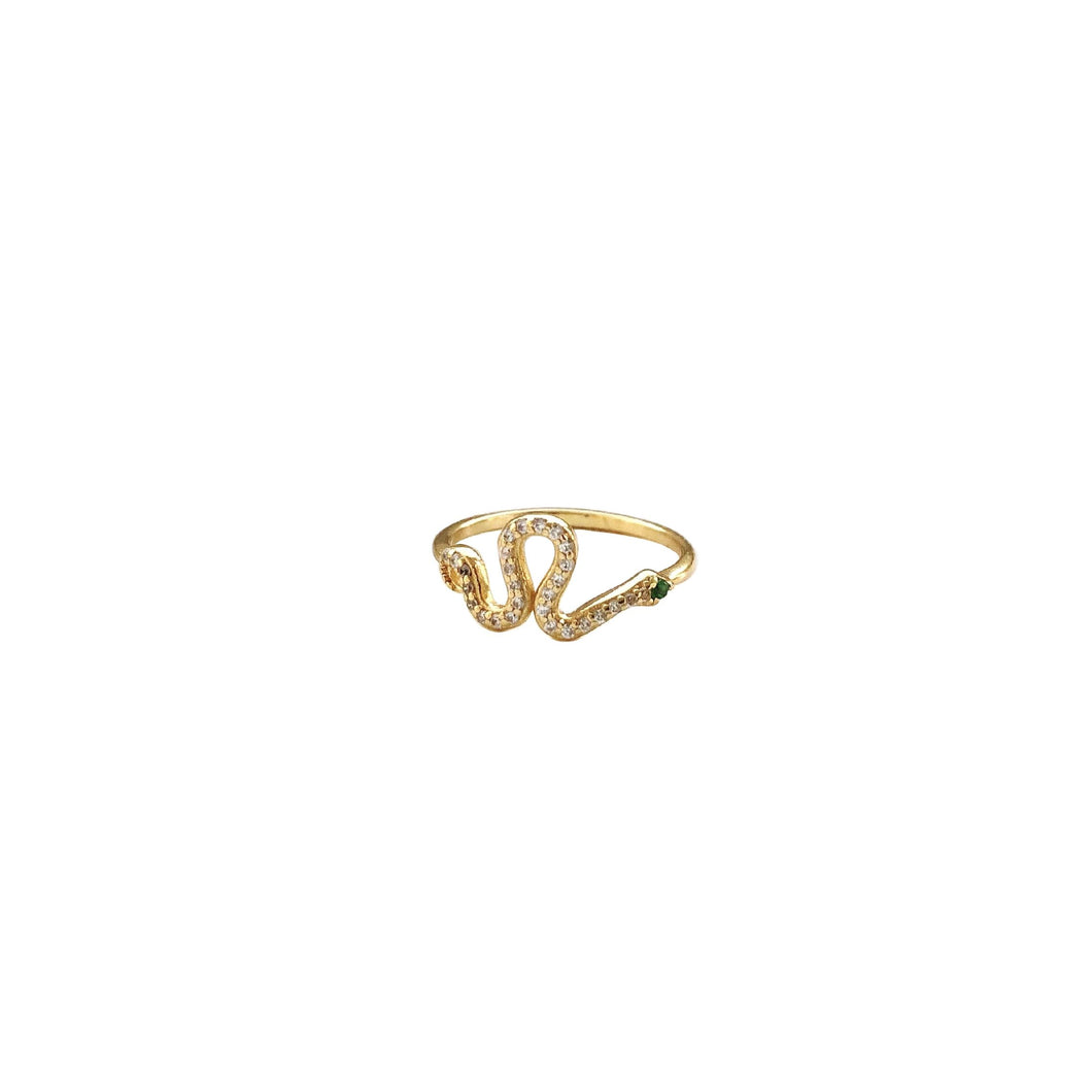 SERPENT PINKY CHAIN RING