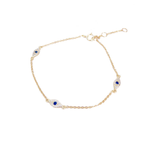 TEENY TRIO EVIL EYE BRACELET