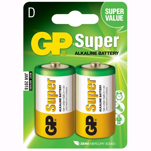 Gp Batteries Blister 2 Batterie Torcia D GP Super