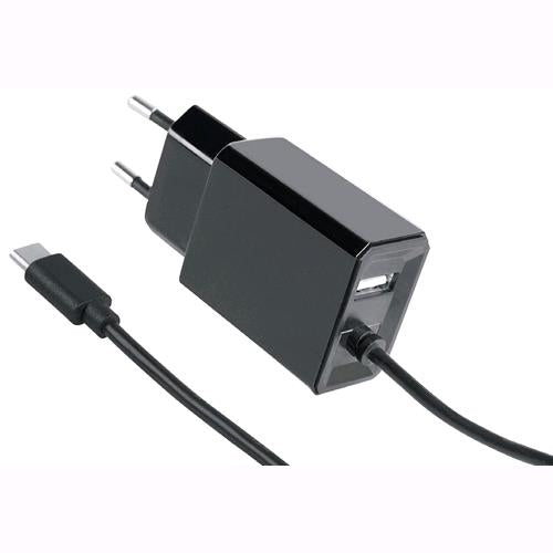 Fontastic Caricatore con Cavo USB-C 3,4A Spina Europea 2 pin Nero