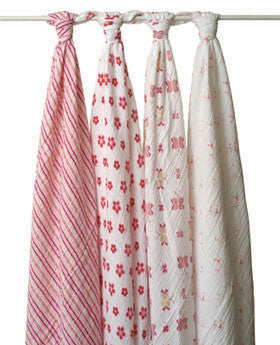 aden + anais princess posie swaddle classic muslin collection 4 pack