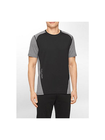 CALVIN KLEIN PERFORMANCE COLORBLOCK REFLECTIVE PRINT SHORT SLEEVE SHIRT / BLACK