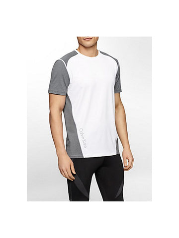 CALVIN KLEIN PERFORMANCE COLORBLOCK REFLECTIVE PRINT SHORT SLEEVE SHIRT / WHITE