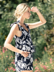 J.O.A: FLOWER PRINT ROMPER WITH RIBBON TIE