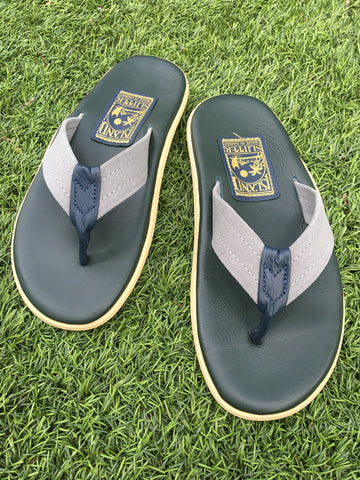 Island Slipper Men's Leather Navy x Grey