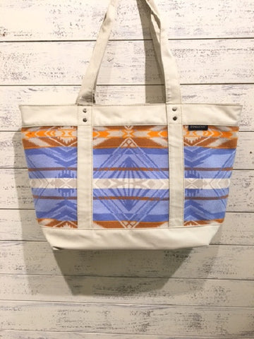 Pendleton: Coquille River Large Zip Tote BLUE/ORANGE