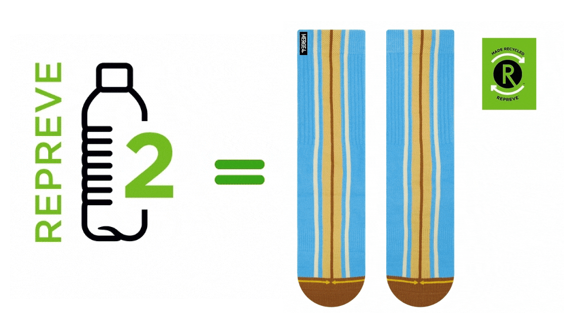 Every pair of REPREVE socks is equivalent to two recycled plastic bottles