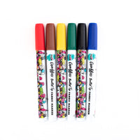 Graffiti Bullet Tip Rainbow Fabric Markers 6 Pack