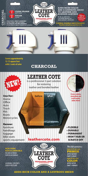 Charcoal Leather Cote Dye Paint 8 oz with Clear Primer 2.5 oz