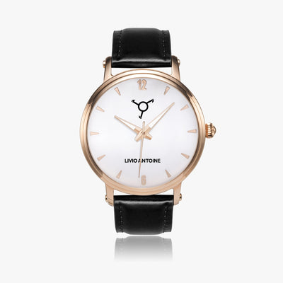 rose gold case watch with white face, rose indicators and black leather strap