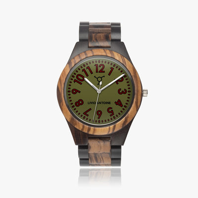 wooden case, dark green, red, and black watch face, and dark wooden strap