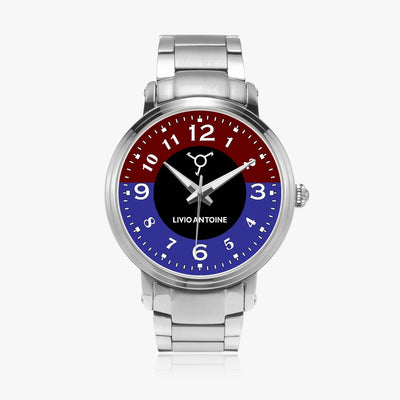 red, blue, and black watch face, silver case, and silver stainless steel link strap