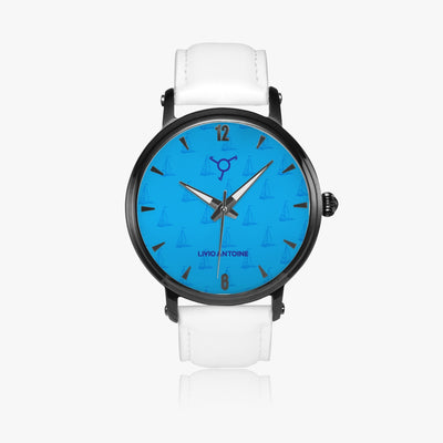 Automatic classic watch with black case, light blue dial with boat figures and white genuine leather strap