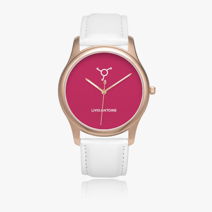 Rose gold case watch with dark pink watch face and white leather strap