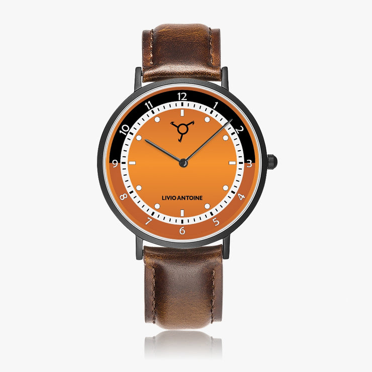 orange watch face with white dial and brown leather strap