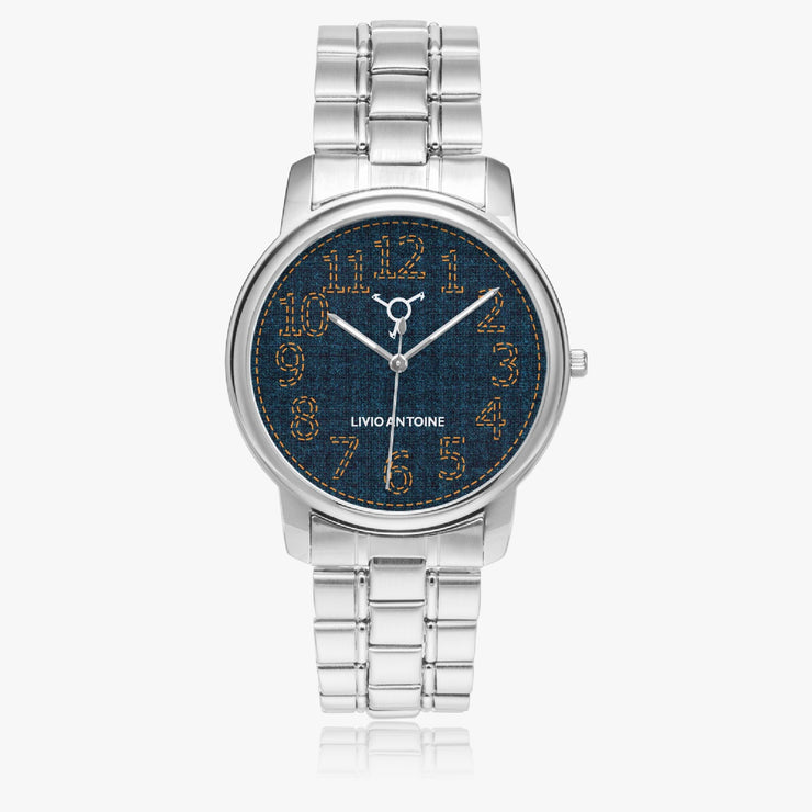Silver stainless steel watch with blue jeans face, orange arabic numbers and silver stainless steel strap