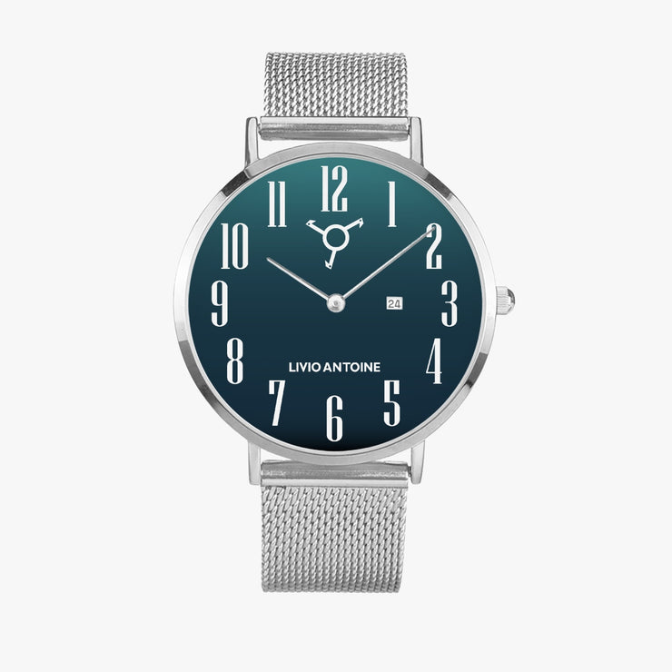 Silver watch with turquoise dial and stainless steel mesh strap