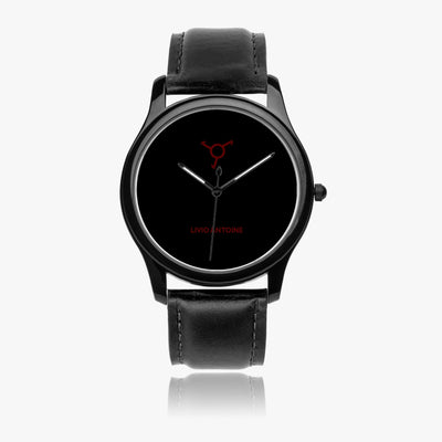 black case classic watch with black face and black leather strap