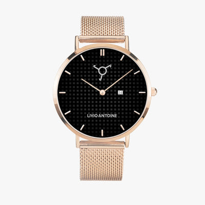 black and gray dial casual watch with rose gold case and rose gold mesh stainless steel strap