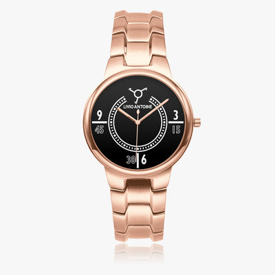 Rose gold stainless watch with black/ white watch face, rose gold case and rose gold link stainless steel strap