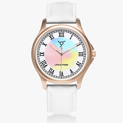 Rose gold case with rose/Blue/Yellow Watch face, black latin numbers and white leather strap