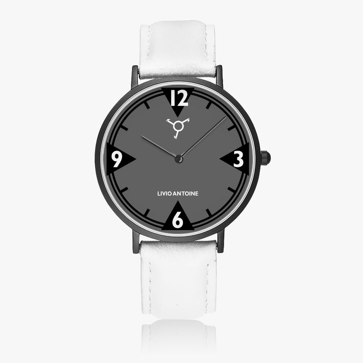 A black case ultra slim watch featuring black/ gray watch face and white leather strap
